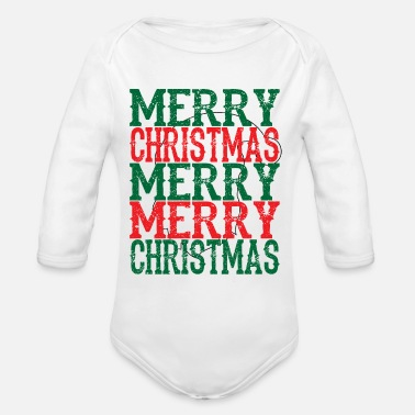Merry MERRY MERRY CHRISTMAS - Organic Long-Sleeved Baby Bodysuit
