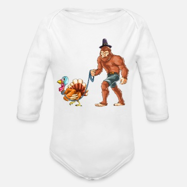 Bigfoot Thanksgiving Thanksgiving Bigfoot Pet Turkey - Organic Long-Sleeved Baby Bodysuit