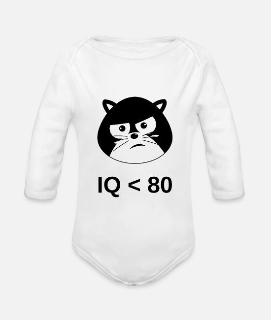 Idiot Baby One Pieces - IQ <80 - Organic Long-Sleeved Baby Bodysuit white