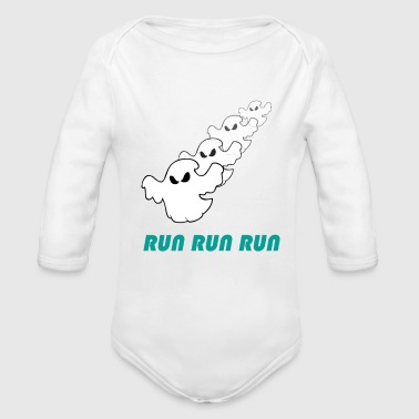 Running Run run run (ghost) - Organic Long Sleeve Baby Bodysuit
