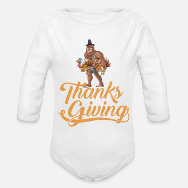Bigfoot Thanksgiving Thanksgiving Turkey Bigfoot - Organic Long-Sleeved Baby Bodysuit