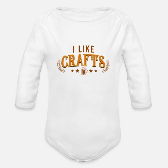 Brewery Baby Clothing - I Like Beer Crafts - Beer Lovers Gift shirt - Organic Long-Sleeved Baby Bodysuit white
