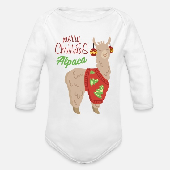 Birthday Baby Clothing - Alpaca with Ugly Christmas Sweater - Organic Long-Sleeved Baby Bodysuit white