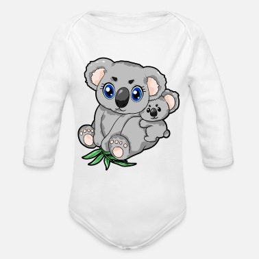 Mum And Son Koala Mum and Child Son Daughter Mom Love Present - Organic Long-Sleeved Baby Bodysuit
