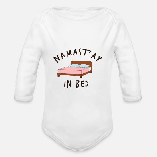 Bed Baby Clothing - nama'stay in bed - Organic Long-Sleeved Baby Bodysuit white