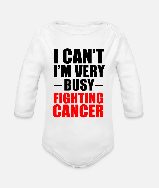 Fighter Baby One Pieces - Cancer Fighter Fight Fighting Gift - Organic Long-Sleeved Baby Bodysuit white