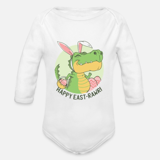 Easter Baby Clothing - Easter T Rex Dinosaur easter Basket Rawr design - Organic Long-Sleeved Baby Bodysuit white