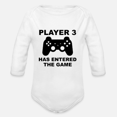 Gamer Player 3 has entered the game - Organic Long-Sleeved Baby Bodysuit