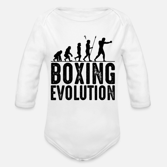 Boxer Baby Clothing - Boxing Evolution Martial Arts Cool Boxer Gift - Organic Long-Sleeved Baby Bodysuit white