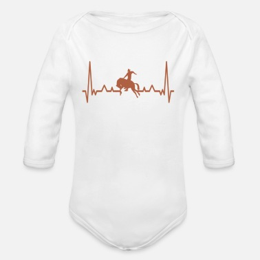 Equitation rodeo cowboy tee shirt retro vintage - Organic Long-Sleeved Baby Bodysuit