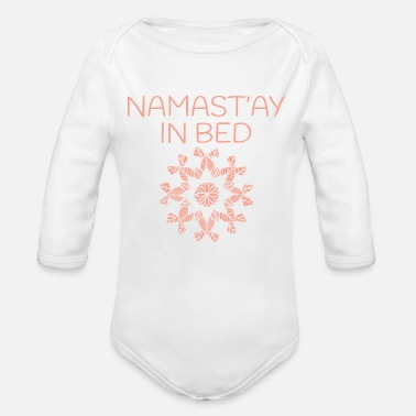 Greeting Namaste Yoga Pattern - Organic Long-Sleeved Baby Bodysuit