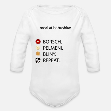Babuschka Russian Kitchen Babuschka Babushka Meal Pelmeni - Organic Long-Sleeved Baby Bodysuit