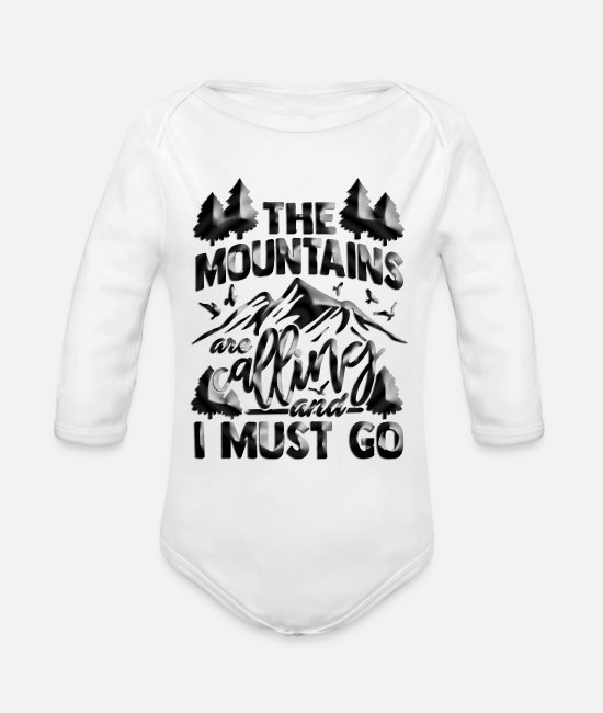 Mountains Baby One Pieces - The Mountains are calling and i must go - Organic Long-Sleeved Baby Bodysuit white