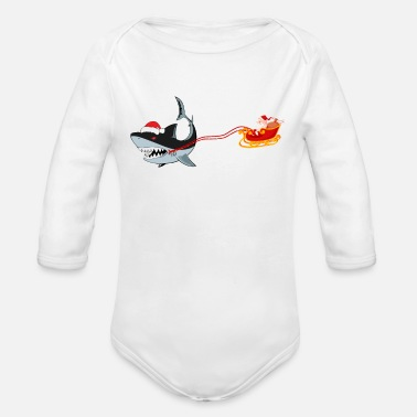 Style Santa Shark Christmas Lights Funny Gifts T Shirt - Organic Long-Sleeved Baby Bodysuit