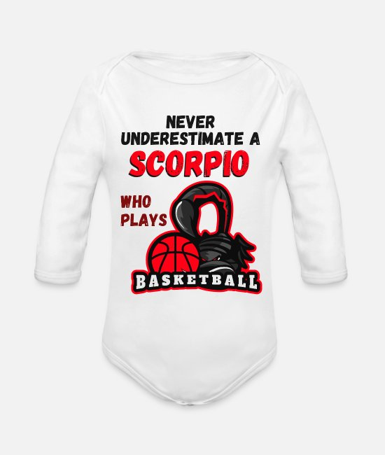 Zodiac Baby One Pieces - Scorpio Basketball player scorpion zodiac sign - Organic Long-Sleeved Baby Bodysuit white