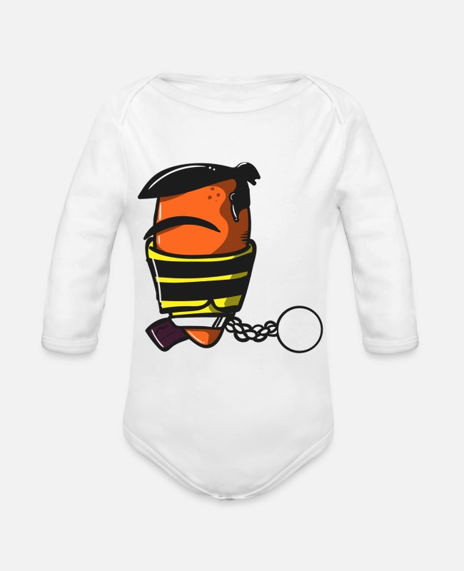 Jiljil Baby One Pieces - Inmate T Shirt - Organic Long-Sleeved Baby Bodysuit white