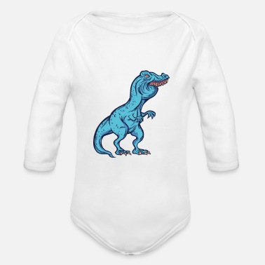 Braces Funny dino meme TRex Tshirt party gift - Organic Long-Sleeved Baby Bodysuit
