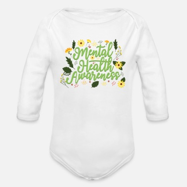 Be Kind Mental Health Awareness Month Retro Positive Quote - Organic Long-Sleeved Baby Bodysuit