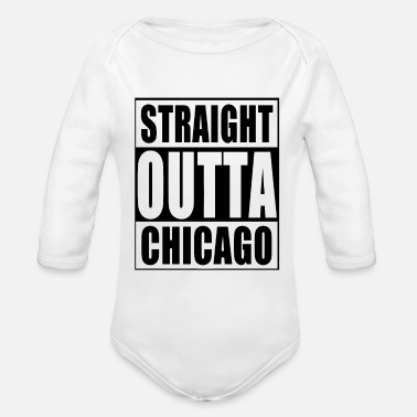 Straight Outta STRAIGHT OUTTA CHICAGO - Organic Long-Sleeved Baby Bodysuit