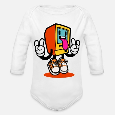 Monitoring Funny Monitor - Organic Long Sleeve Baby Bodysuit