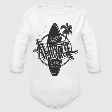 South America Coconut Holiday Surf Board Sketch - Organic Long Sleeve Baby Bodysuit