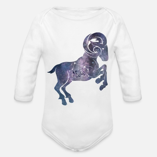 Zodiac Baby Clothing - Aries Zodiac - Organic Long-Sleeved Baby Bodysuit white