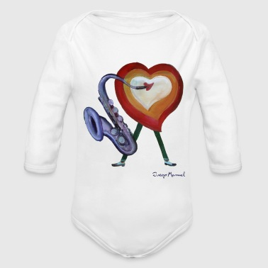 Corazon Corazon de jazz - Organic Long Sleeve Baby Bodysuit
