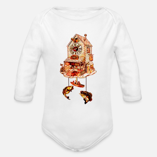 Lodge Baby Clothing - Fishing Lodge Cuckoo Clock - Organic Long-Sleeved Baby Bodysuit white