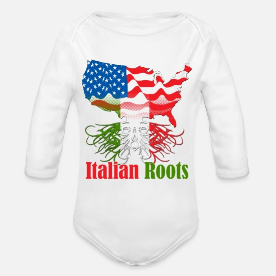 Italian Baby Clothing - Italian Roots - Organic Long-Sleeved Baby Bodysuit white