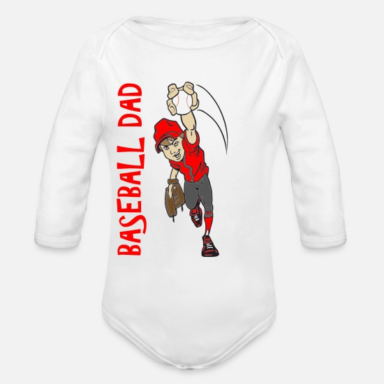 Father's Day Baby Clothing - BASEBALL DAD - Organic Long-Sleeved Baby Bodysuit white