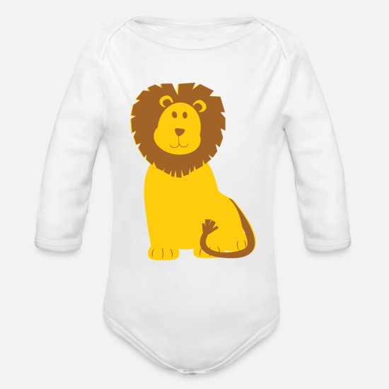 Lion Head Baby Clothing - Lion - Organic Long-Sleeved Baby Bodysuit white