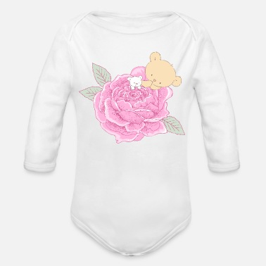 Baby Shower Sweetheart Rose - Organic Long-Sleeved Baby Bodysuit