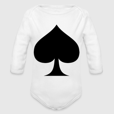 Suit of Spades Spade Pik Peak Mountaintop Cardgame - Organic Long Sleeve Baby Bodysuit