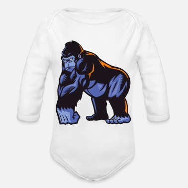 Streetwear Animal gorilla wildlife funny cartoon vector image - Organic Long-Sleeved Baby Bodysuit