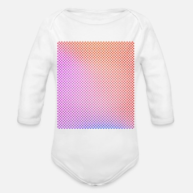 Bright Colours Bright, colourful circles in rows - Organic Long-Sleeved Baby Bodysuit