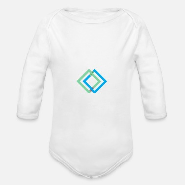 Square Squares Quadrats - Organic Long-Sleeved Baby Bodysuit