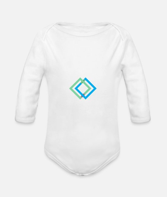 Daily Baby One Pieces - Squares Quadrats - Organic Long-Sleeved Baby Bodysuit white
