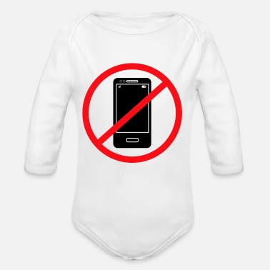 Mobile Phone Vector no mobile phones sign - Organic Long Sleeve Baby Bodysuit