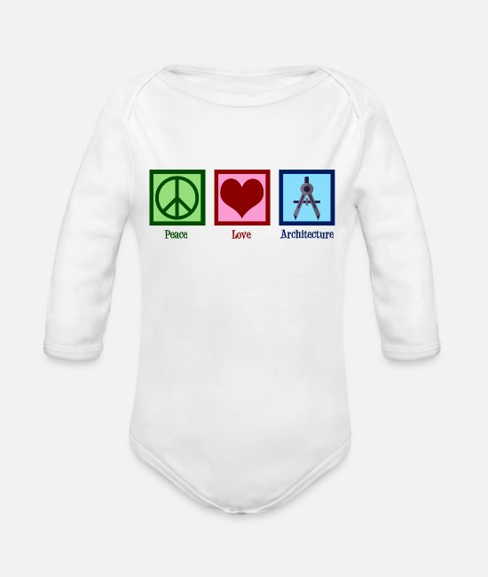 Building Baby One Pieces - Peace Love Architecture - Organic Long-Sleeved Baby Bodysuit white