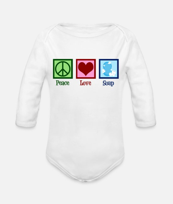 Handmade Soap Baby One Pieces - Peace Love Soap - Organic Long-Sleeved Baby Bodysuit white