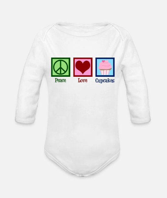 Baked Goods Baby One Pieces - Peace Love Cupcakes - Organic Long-Sleeved Baby Bodysuit white