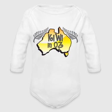 KIWI in Oz funny New Zealand in Australia - Organic Long Sleeve Baby Bodysuit
