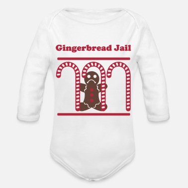 Gingerbread Man Gingerbread Man Jail - Organic Long Sleeve Baby Bodysuit
