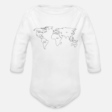 World Map World map - Organic Long-Sleeved Baby Bodysuit