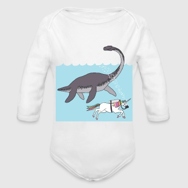 unicorn swimming with loch ness monster - Organic Long Sleeve Baby Bodysuit