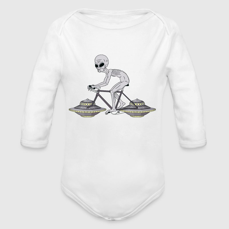 Grey Alien Riding Bike With UFO Wheels - Organic Long Sleeve Baby Bodysuit