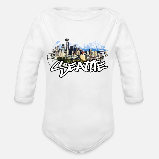 Seattle Baby Clothing - Seattle Washington Seattle Lover Gift - Organic Long-Sleeved Baby Bodysuit white