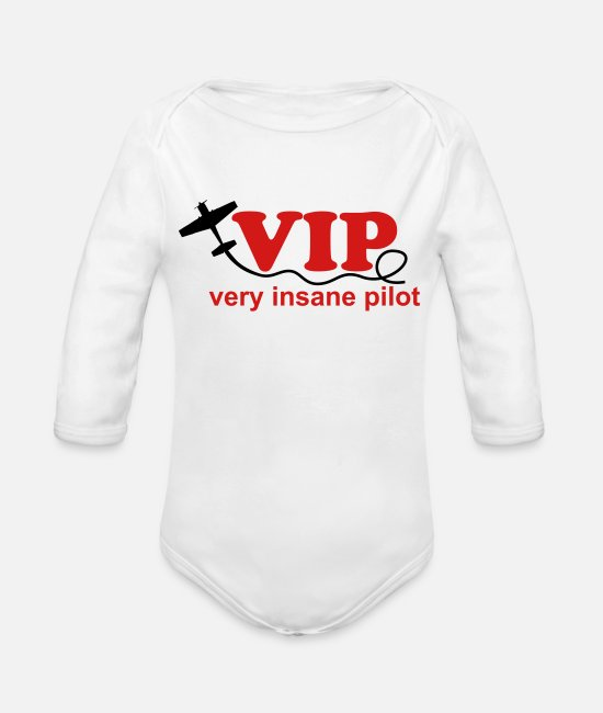 Pilot Baby One Pieces - VIP Pilot Gift Sport aeroplane - Organic Long-Sleeved Baby Bodysuit white