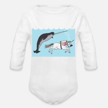 Narwal narwal swimming with unicon - Organic Long-Sleeved Baby Bodysuit