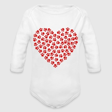 Dog paw - Organic Long Sleeve Baby Bodysuit